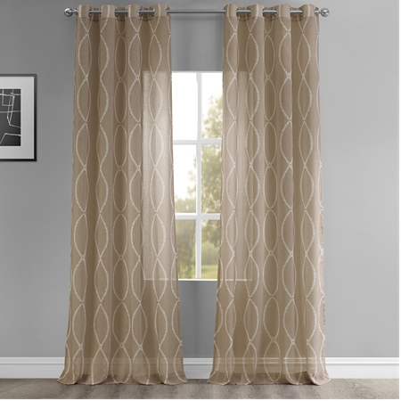Grecian Taupe Grommet Printed Sheer Curtain