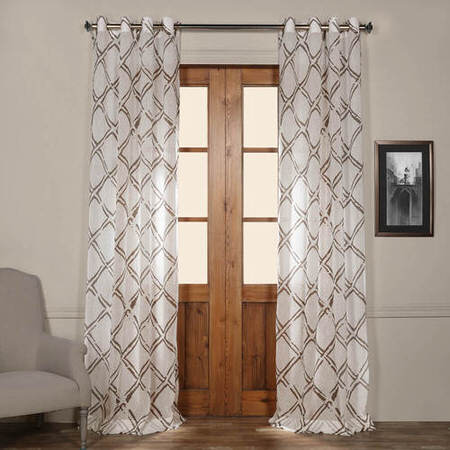 Normandy Grey Grommet Printed Sheer Curtain