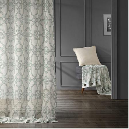 SeaGlass Blue Grommet Printed Sheer Curtain