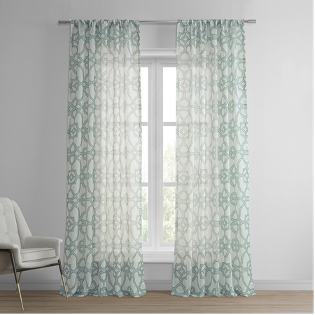 SeaGlass Blue Printed Sheer Curtain