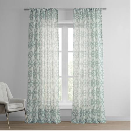 SeaGlass Blue Printed Sheer Curtain