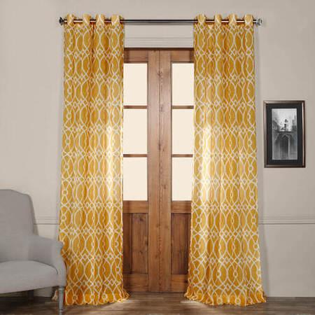 Tava Yellow Grommet Printed Sheer Curtain