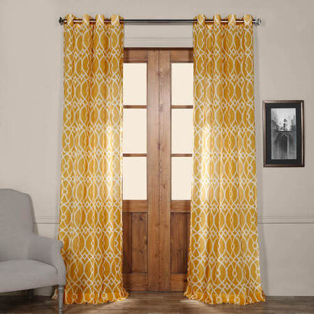Tava Yellow Grommet Printed Sheer Curtain