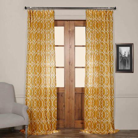 Tava Yellow Printed Sheer Curtain