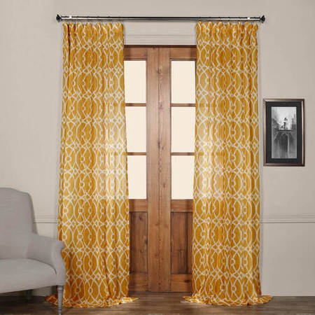 Tava Yellow Printed Sheer Curtain
