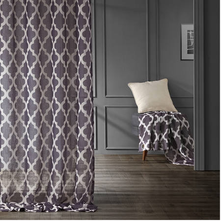 Birmingham Blue Grommet Printed Sheer Curtain