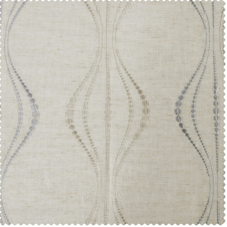 Suez Natural Embroidered Faux Linen Sheer Swatch