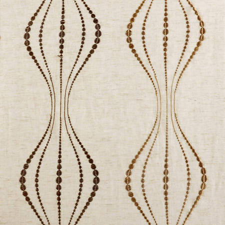 Suez Bronze Embroidered Faux Linen Sheer Swatch