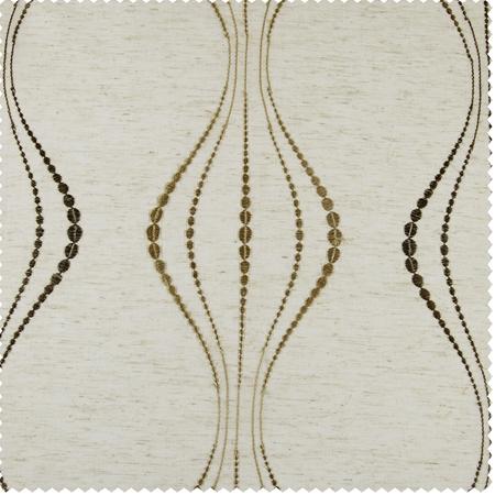 Suez Bronze Embroidered Faux Linen Sheer Swatch