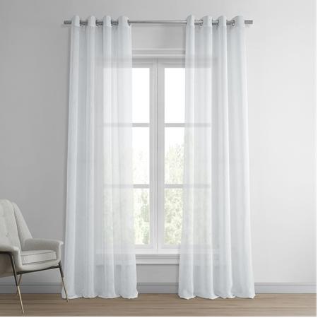 Aspen White Grommet Solid Faux Linen Sheer Curtain