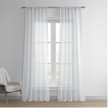 Aspen White Solid Faux Linen Sheer Curtain