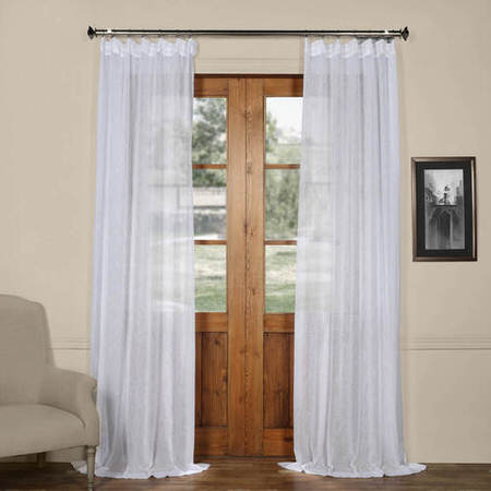 Aspen White Solid Faux Linen Sheer Curtain