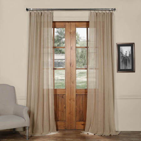 Nude Mauve Solid Faux Linen Sheer Curtain