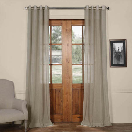 Paris Grey Grommet Solid Faux Linen Sheer Curtain