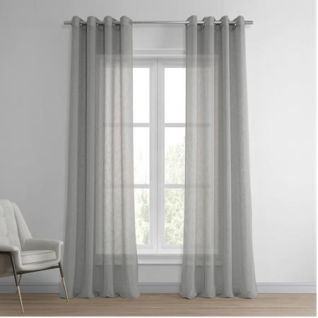 Paris Grey Grommet Solid Faux Linen Sheer Curtain