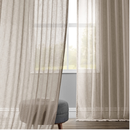 Paris Grey Solid Faux Linen Sheer Curtain