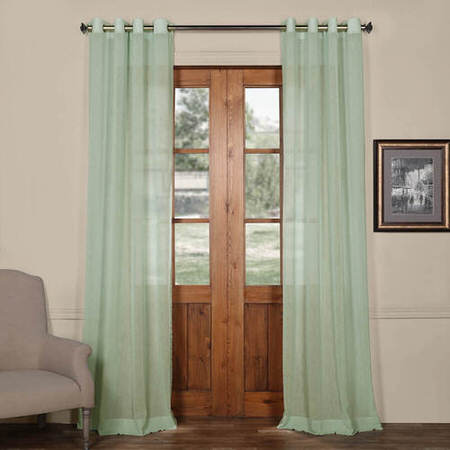 Bahama Blue Grommet Solid Faux Linen Sheer Curtain