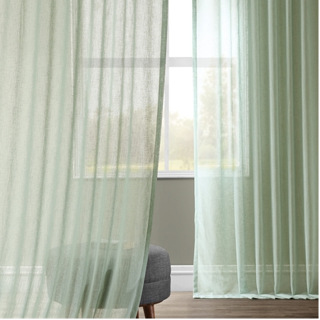 Bahama Blue Solid Faux Linen Sheer Curtain