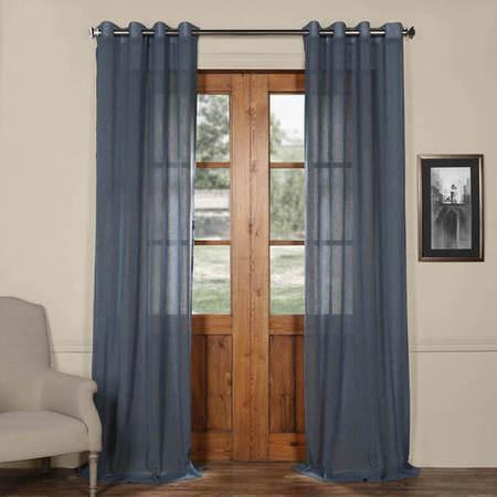Tahoe Blue Grommet Solid Faux Linen Sheer Curtain