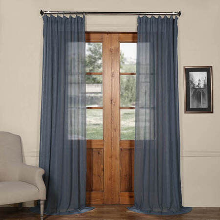 Tahoe Blue Solid Faux Linen Sheer Curtain