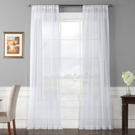 Pair (2 Panels) Solid White Voile Poly Sheer Curtain