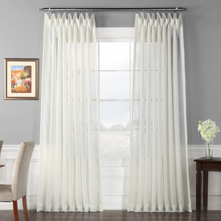 Signature Double Layered Double Wide Off White Sheer Curtain