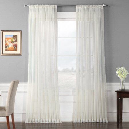 Solid Off White Double Wide Voile Poly Sheer Curtain