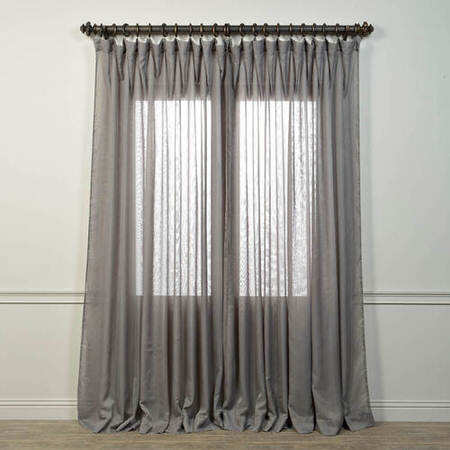 Signature Double Wide Grey Sheer Curtain