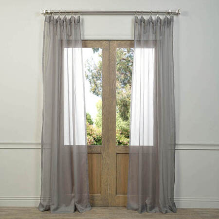 Pair (2 Panels) Solid Grey Voile Poly Sheer Curtain