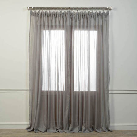 Doublewide Solid Grey Voile Poly Sheer Curtain