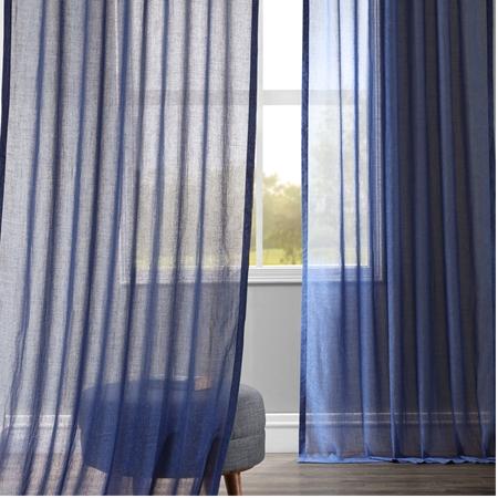 Blue Lapis Faux Linen Sheer Curtain