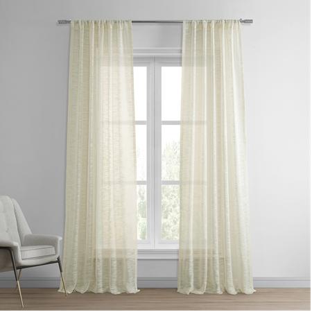 Open Weave Cream Linen Sheer Curtain