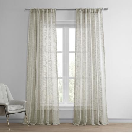 Open Weave Natural Linen Sheer Curtain
