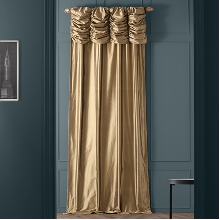 Ruched Gold Dust Thai Silk Curtain
