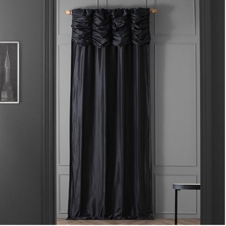 Ruched Midnight Black Thai Silk Curtain
