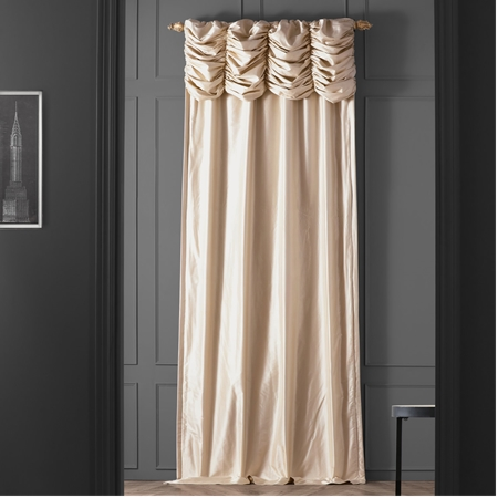 Ruched Pearl White Thai Silk Curtain
