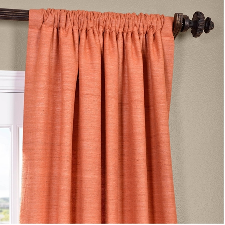 Terracotta Raw Silk Curtain