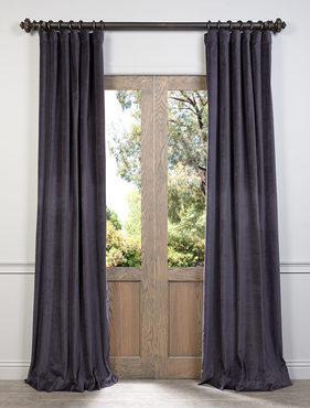 Ombre Blue Grey Cotton Velvet Curtain