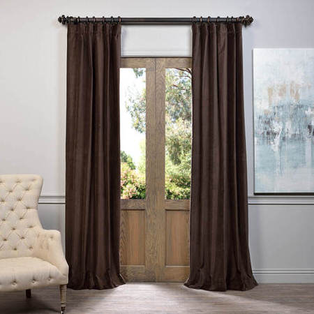 Chocolate Vintage Cotton Velvet Curtain