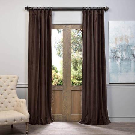 Chocolate Vintage Cotton Velvet Curtain