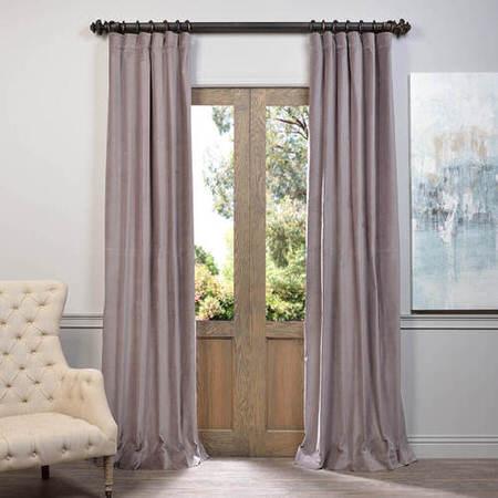 Flint Grey Vintage Cotton Velvet Curtain