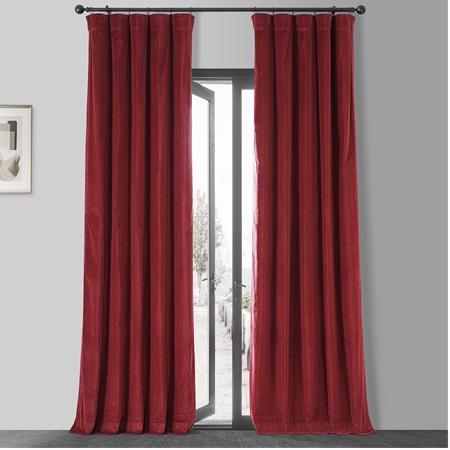 Red Vintage Cotton Velvet Curtain