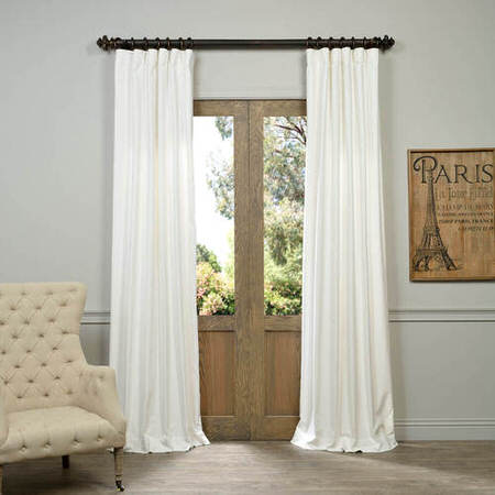 White Vintage Cotton Velvet Curtain
