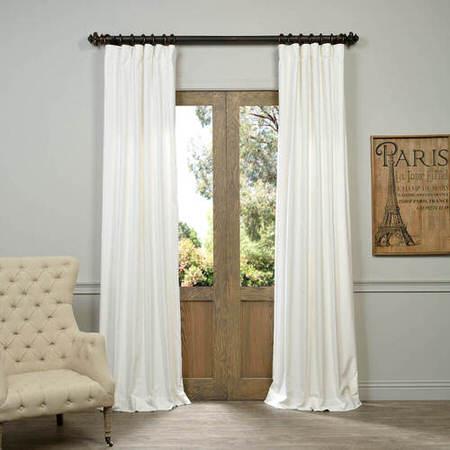 White Vintage Cotton Velvet Curtain