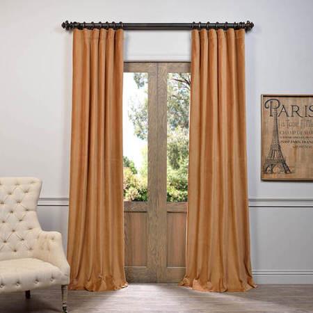 Gold Vintage Cotton Velvet Curtain