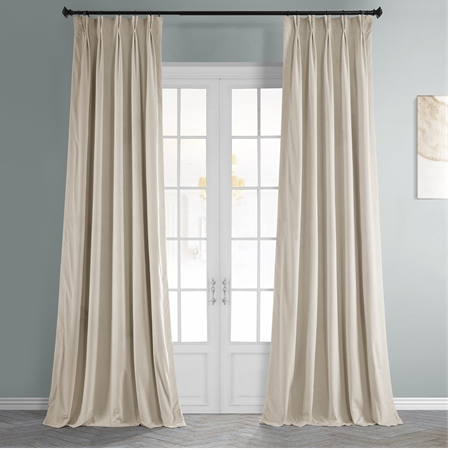 Signature Ivory Pleated Blackout Velvet Curtain