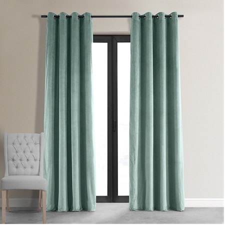 Signature Aqua Mist Grommet Blackout Velvet Curtain