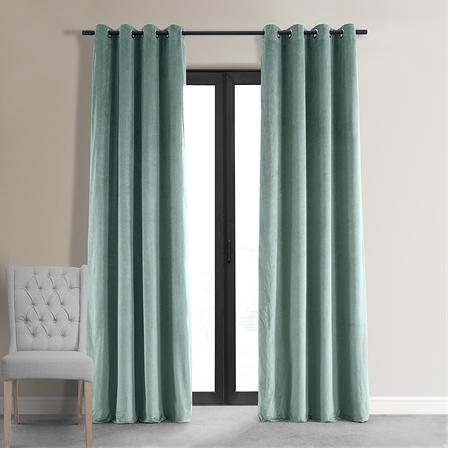 Signature Aqua Mist Grommet Blackout Velvet Curtain