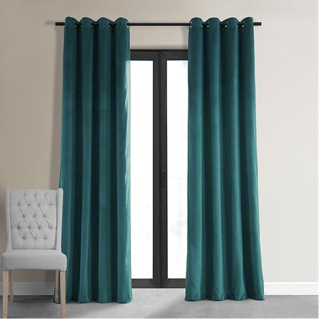Signature Everglade Teal Grommet Blackout Velvet Curtain
