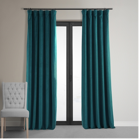Signature Everglade Teal Blackout Velvet Curtain